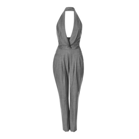 Temperley London Grey Lila Pleat Front Wool Jumpsuit