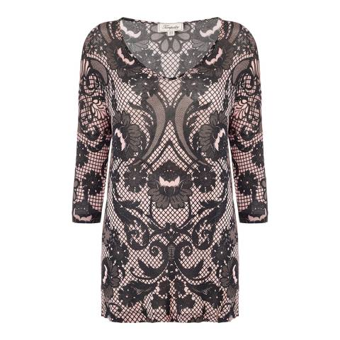 Temperley London Black/Pink Lace Print V-Neck Top