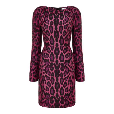 Alice by Temperley Pink Leopard Fabienne Sleeved Mini Dress