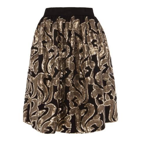 Alice by Temperley Black/Gold Phoenix Embellished Skirt