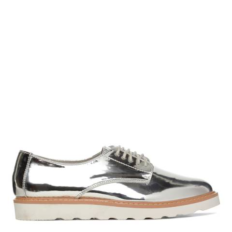 Kurt Geiger Silver Metallic Gecko Lace Up Flats