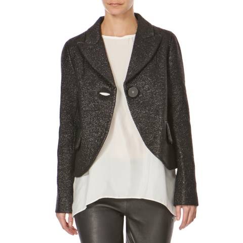 Marc Jacobs Black Metalic Single Button Wool Blend Jacket