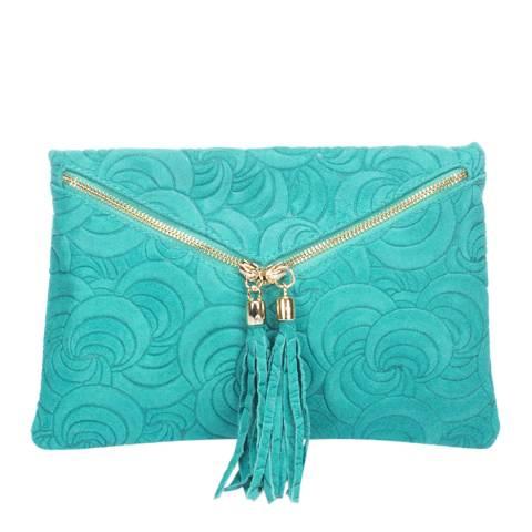 Lisa Minardi Turquoise Leather Embossed Clutch Bag