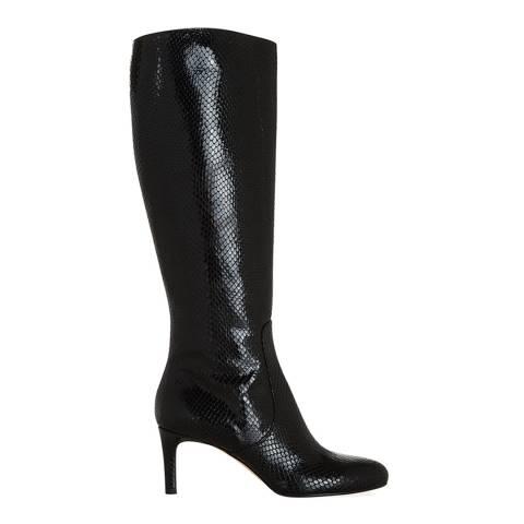 Hobbs London Black Leather Nina Snakeskin Long Boots