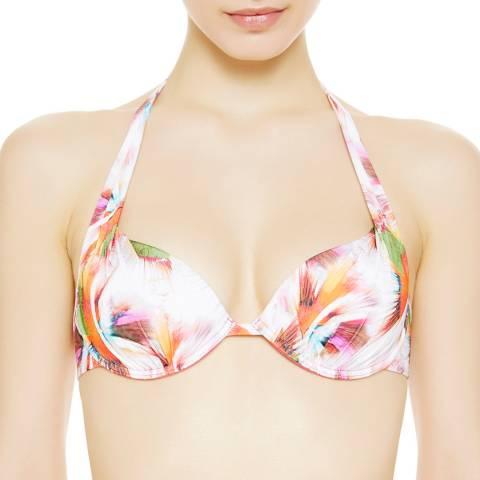 La Perla White/Pink Tropical Flower Push Up Bikini Top