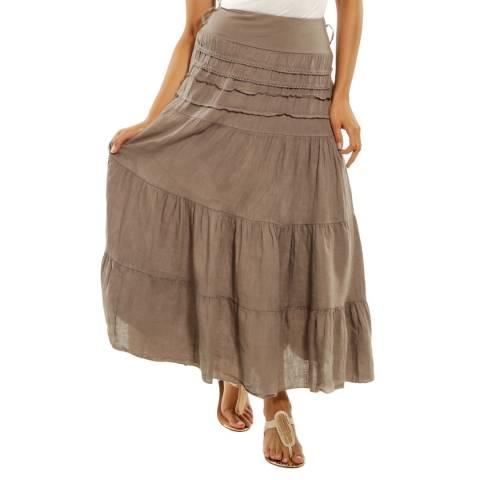 Toutes belles en LIN Taupe Tiered Linen Skirt