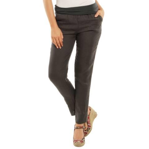 LE MONDE DU LIN Taupe Provence Slim Linen Trousers