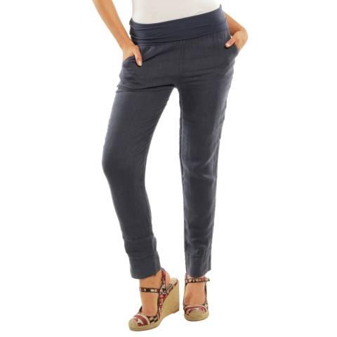 Toutes belles en LIN Navy Provence Slim Linen Trousers