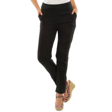 LE MONDE DU LIN Black Provence Slim Linen Trousers
