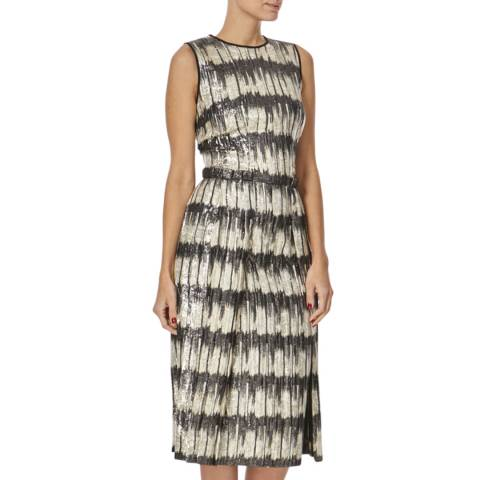 Hugo Boss Gold/Black Pattern Silk Blend Midi Dress