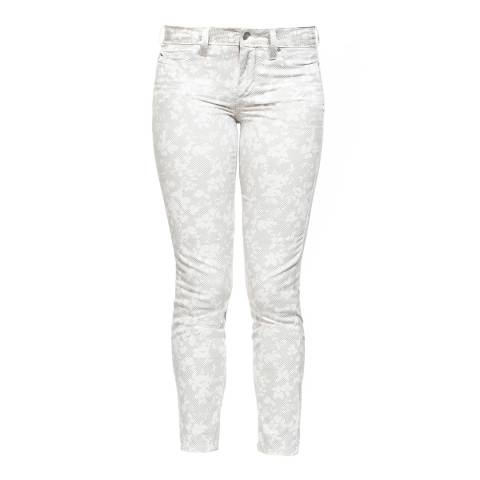 NYDJ White Checker Foliage Ankle Cropped Jeggings