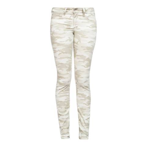 NYDJ Beige Army Camouflage Skinny Cotton Stretch Jeggings