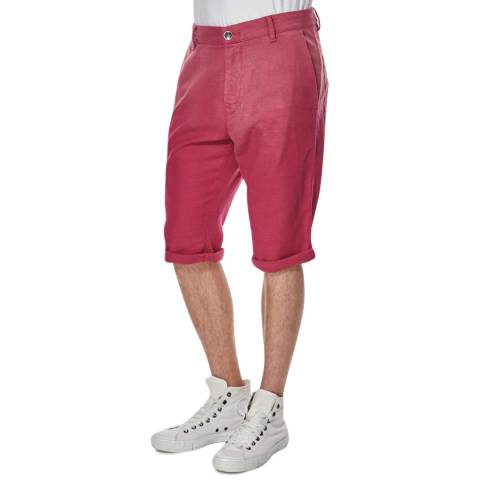 Hugo Boss Deep Pink Stimo Cotton Blend Tapered Fit Shorts