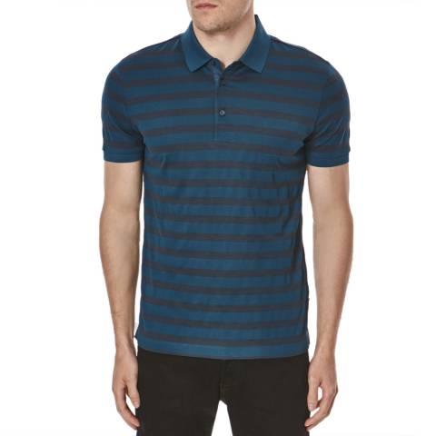 Hugo Boss Dark Teal Varenna  Stripe Cotton Polo Shirt