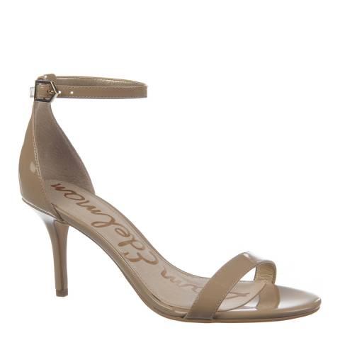 Sam Edelman Nude Leather Patent Patti Ankle Strap Sandals