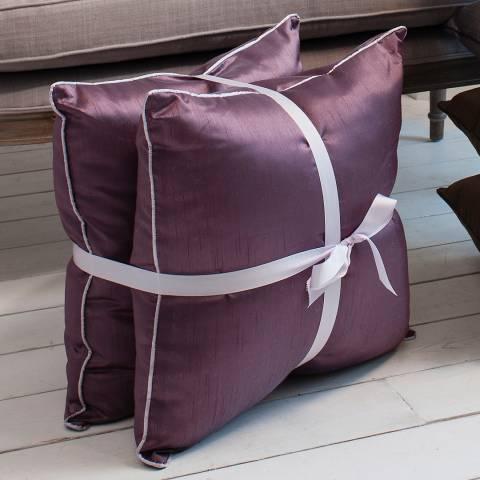 Parisian House Heather Colette Faux Silk Cushion 50x50cm Set of Two