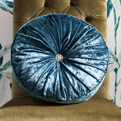Parisian House Teal Loire Round Velvet Cushion 40x40cm