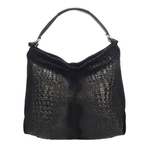 Giulia Massari Black Leather Weekend Bag