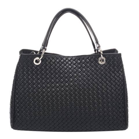 Massimo Castelli Black Leather Woven Chain Strap Handbag