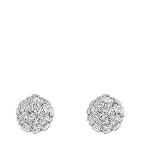 Black Label by Liv Oliver Silver Crystal Cluster Stud Earrings
