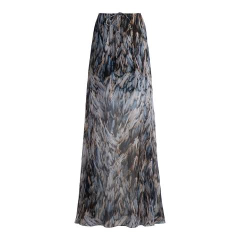 Amanda Wakeley Grey Feather Printed Silk Chiffon Maxi Skirt