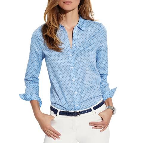 Pure Collection Pale Blue Mosaic Print Cotton Shirt