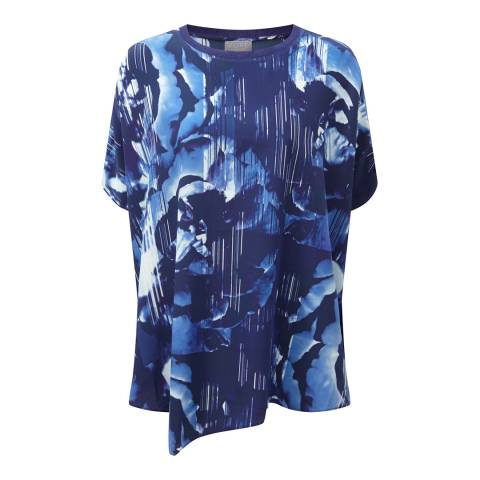 Pure Collection Blue Floral Pure Silk Poncho