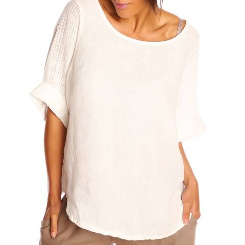 100% Linen White Helene Top