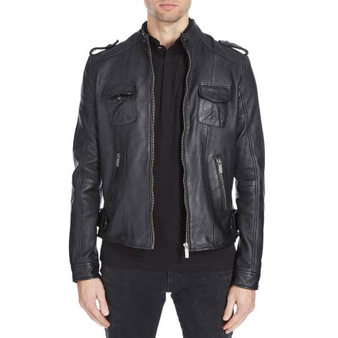 Bolongaro Trevor Black Weathered Leather Biker Jacket