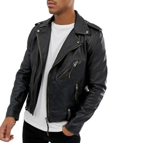 Bolongaro Trevor Black Blade Antique Leather Biker Jacket