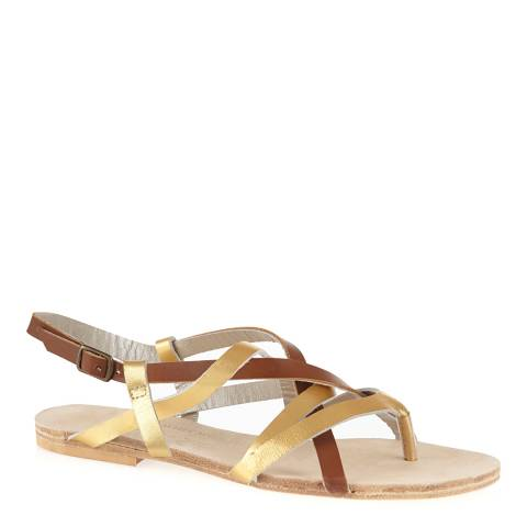 French Sole Gold/Brown Leather Cross Strap Sandals