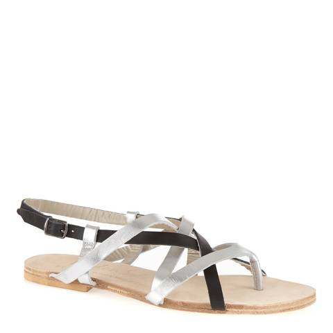 French Sole Silver/Black Leather Cross Strap Sandals