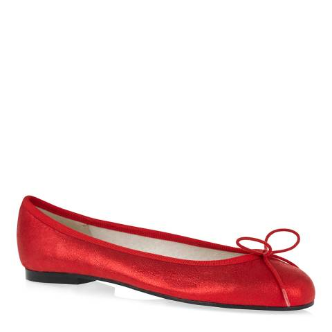 French Sole Red Suede Henrietta Metallic Ballet Pumps