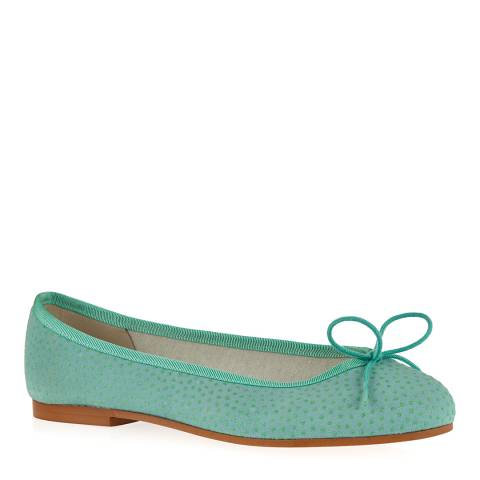 French Sole Mint Green Suede Henrietta Pebble Effect Ballet Pumps