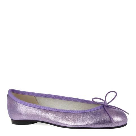 French Sole Purple Leather Henrietta Metallic Ballet Pumps