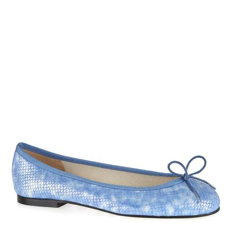 French Sole Blue Leather Henrietta Scale Ballet Pumps