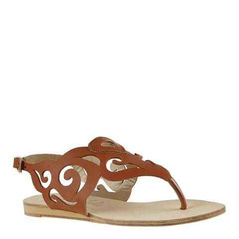 French Sole Tan Leather Glastonbury Cut Out Gladiator Sandals