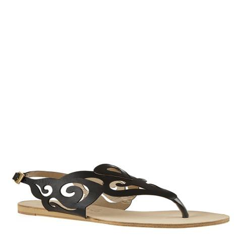 French Sole Black Leather Glastonbury Cut Out Gladiator Sandals
