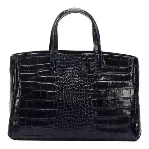 Lisa Minardi Blue Leather Croc Top Handle Bag