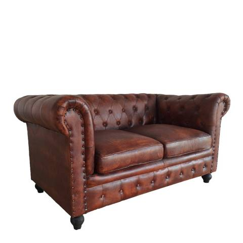 Tan Leather Tilda Chesterfield Two Seater Sofa - BrandAlley