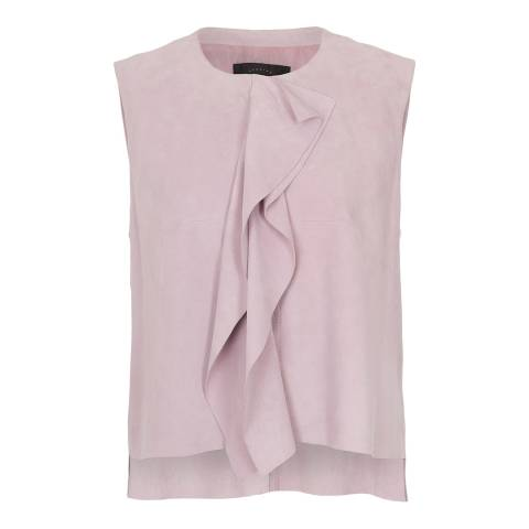 French Connection Pink Sandie Frill Detail Suede Top