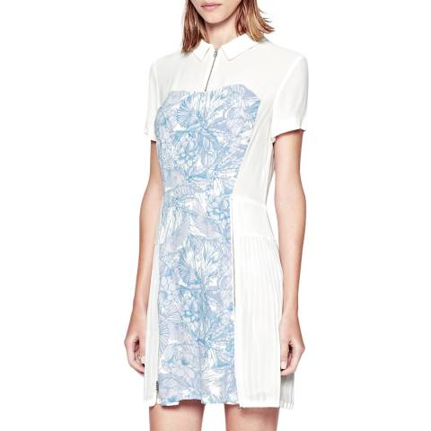 French Connection White/Blue Flights Of Fancy Pleated Shirt Dress