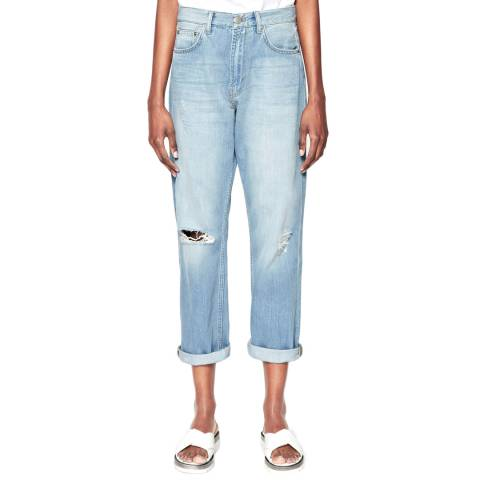 French Connection Blue High Rise Distressed Boyfriend Jeans