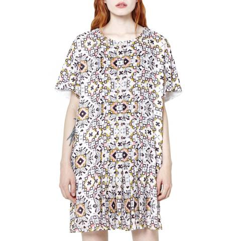 French Connection Multi-Coloured Electric Mosaic Fluted Sleeve Dress