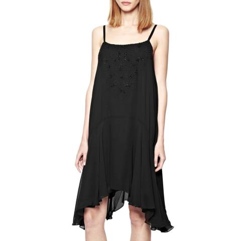 French Connection Black Las Salinas Floral Embellished Dress
