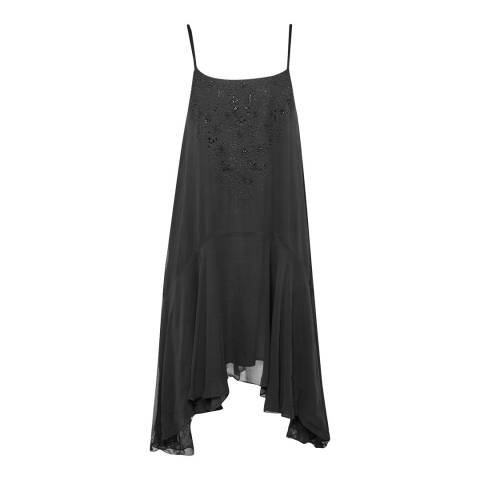 French Connection Black Las Salinas Floral Embellished Dress