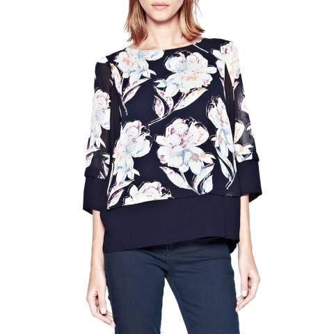 French Connection Navy Shadow Bloom Tunic Top