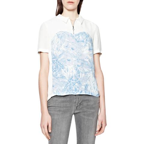 French Connection Blue Flight Of Fancy Floral Shirt