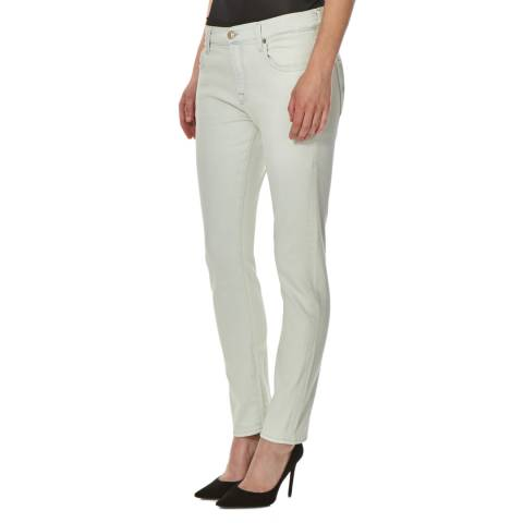 7 For All Mankind Off White Mid Rise Stretch Relaxed Skinny Jeans