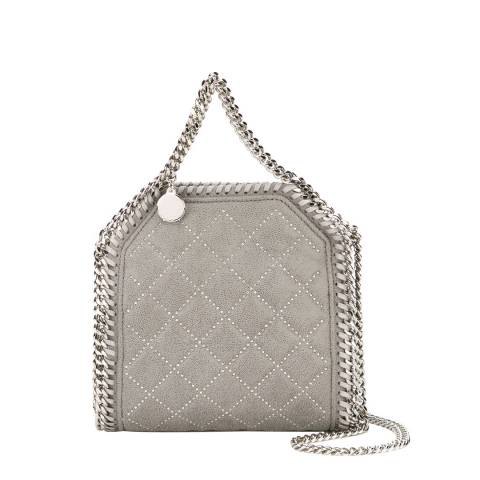 Stella McCartney Grey Falabella Studded Quilted Shaggy Deer Tiny Tote